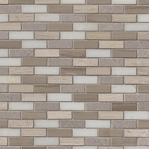 M S International Arctic Storm 12 In. X 12 In. X 10mm Honed Marble Mesh-Mounted Mosaic Tile, (10 sq. ft., 10 pieces per case)
