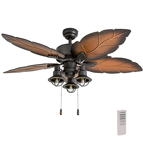 Prominence Home 50759-01 Ocean Crest Ceiling Fan 3 Speed Remote , 52 , Mocha, Tropical Bronze