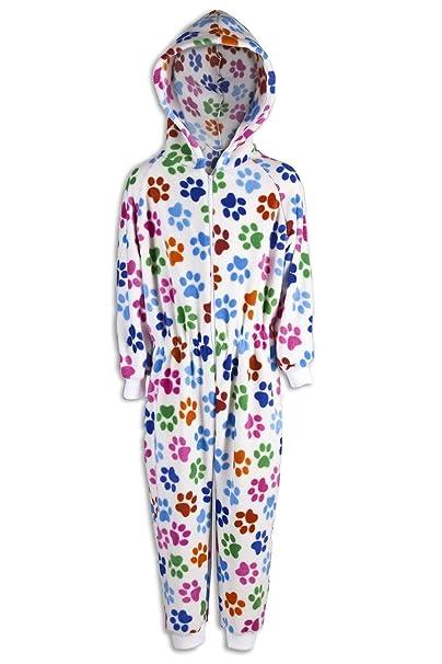 0a507ff65e Camille - Pijama Infantil de una Pieza - Estampado de Huellas de Perro  Blanco  Amazon.es  Ropa y accesorios