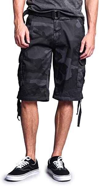 G-Style USA Mens Ripstop Belted Cargo Shorts