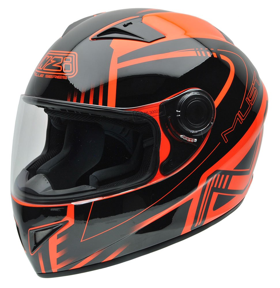 Amazon.es: NZI 150196G677 Must Multi Xlogo Casco de Moto, Color Negro y Naranja Flúor, Talla 58-59 (L)