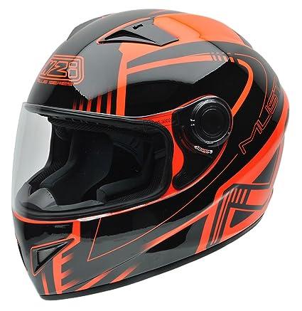 NZI 150196G677 Must Casco de Moto, Color Negro y Naranja Flúor, Talla 60-61 (XL)