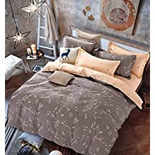 OWLHT 3 Pieces Bedding Sets for Unisex 100% Cotton 800TC 1 Duvet Cover and 2 Pillow Cases Included Starry Sky Constellation Patterns Queen Size