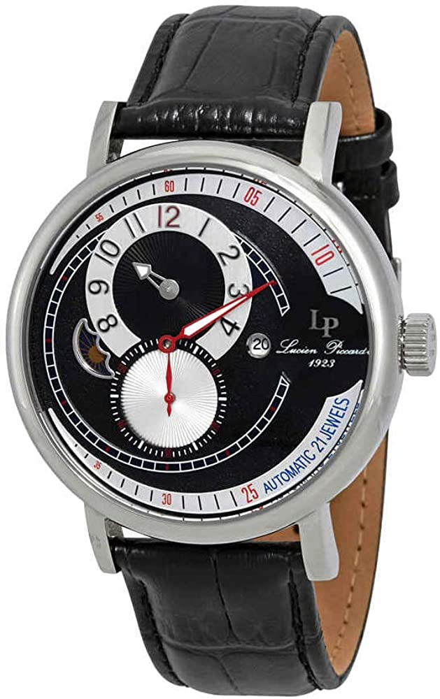 Lucien Piccard Men s Supernova Automatic Stainless Steel and Black Leather Casual Watch Model LP-15157-01