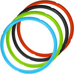 4 Pack Silicone Sealing Rings for Instant Pot, FineGood 4 Colors 5/6qt Size Sweet and Savory Edition Accessory for Pressure Cooker - Red, Black,Blue,Green