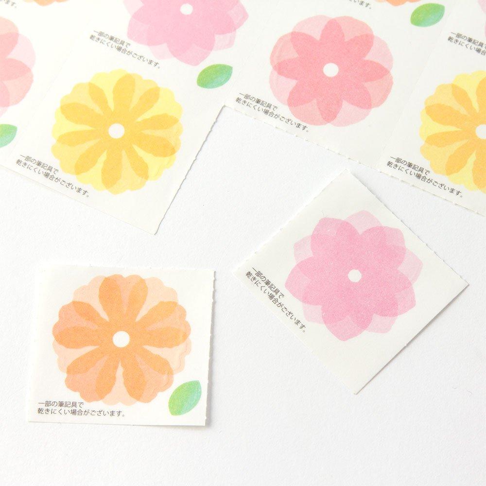 ミドリ カラー色紙用シール 半透明 花柄 82237006