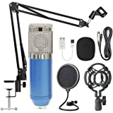 BM-800 Condenser Microphone Black+ Pop Filter Wind Screen + Arm Stand with XLR Male to XLR Female Microphone Cable for Studio