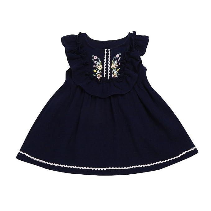 744a3ead2 BYSTE - Vestido - Sin mangas - para bebé niña azul oscuro 18 meses :  Amazon.es: Ropa y accesorios