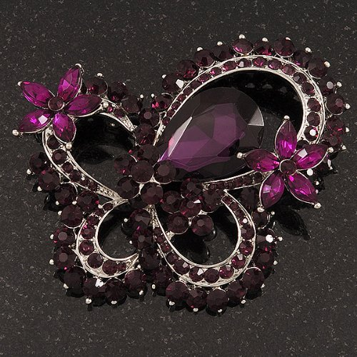 """Grande broche """"Papillon"""" cristal pourpre foncé en plaqué rhodium - longueur 8cm"""