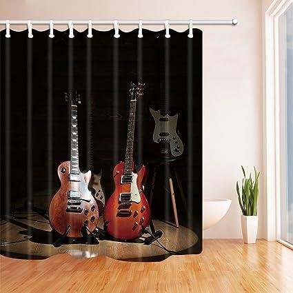 GoHEBE - Cortina de ducha con impresión digital 3D para decoración de música, diseño de