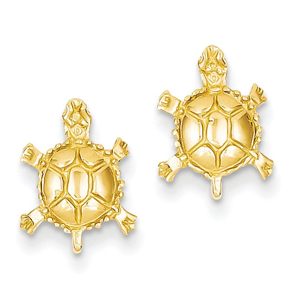 14k Yellow Gold Turtle Post Earrings TC598