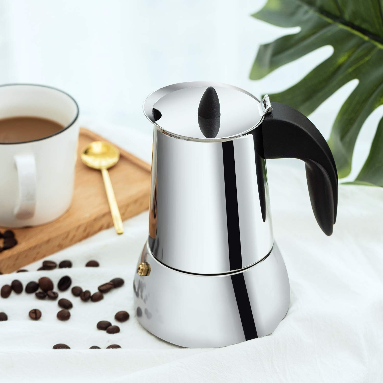 Mr. Rudolf 18/10 Stainless Steel Stovetop Espresso Coffee Maker and Moka Pot 6 Cups
