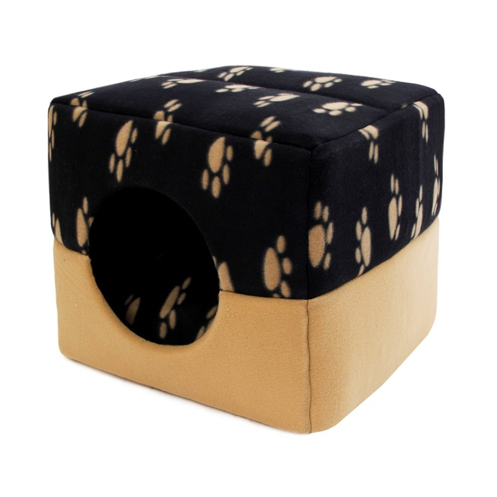 Beige paw M Beige paw M RedGoodThings Paw Prints Dual Use Pet Bed Dog House Cube Bed Pet Nest for Small Animals Cats Rabbits Small Dogs with Thicken Cushion Super Warm (color   Beige paw, Size   M)