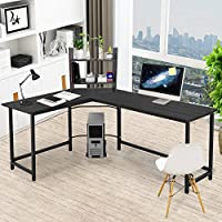 Corner Desk Pexfix L-Shaped Wood Metal Corner Computer Desk PC Laptop Study Table with Bookshelf for Office or Home Use,Black