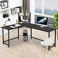 Corner Desk Pexfix L-Shaped Wood Metal Corner Computer Desk PC Laptop Study Table with Bookshelf for Office or Home Use,Black