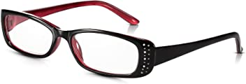 963487a9362 Read Optics Diamante Ladies Reading Glasses 1.5  Rhinestone Inset Womens  Spectacles with Black   Red