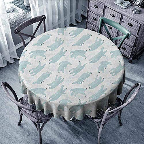 (ScottDecor Overlays Round Tablecloth Jacquard Tablecloth Bear,Swimming Polar Bears North Pole Arctic Mammals Winter Frozen Sea Hand Drawn, Almond Green White Diameter 60