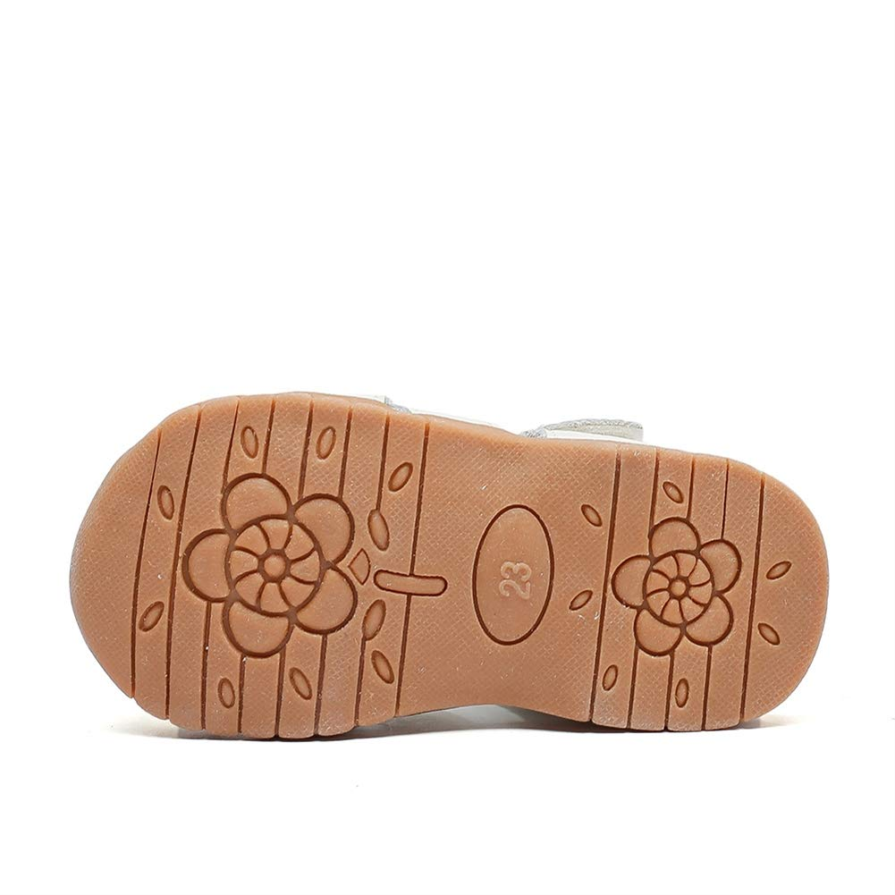 ONCEFIRST Little Girls Leather Summer Sandals Closed Toe Shoes with Hollow Out Design