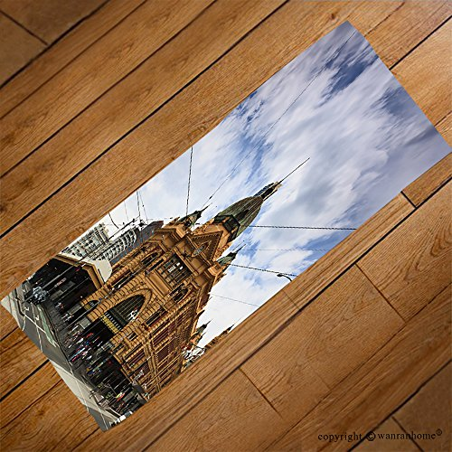 VROSELV Custom Towel Soft and Comfortable Beach Towel-melbourne city historic building flinders station railway victoria colonial Design Hand Towel Bath Towels For Home Outdoor Travel Use (Colonial Crest Cabinet)