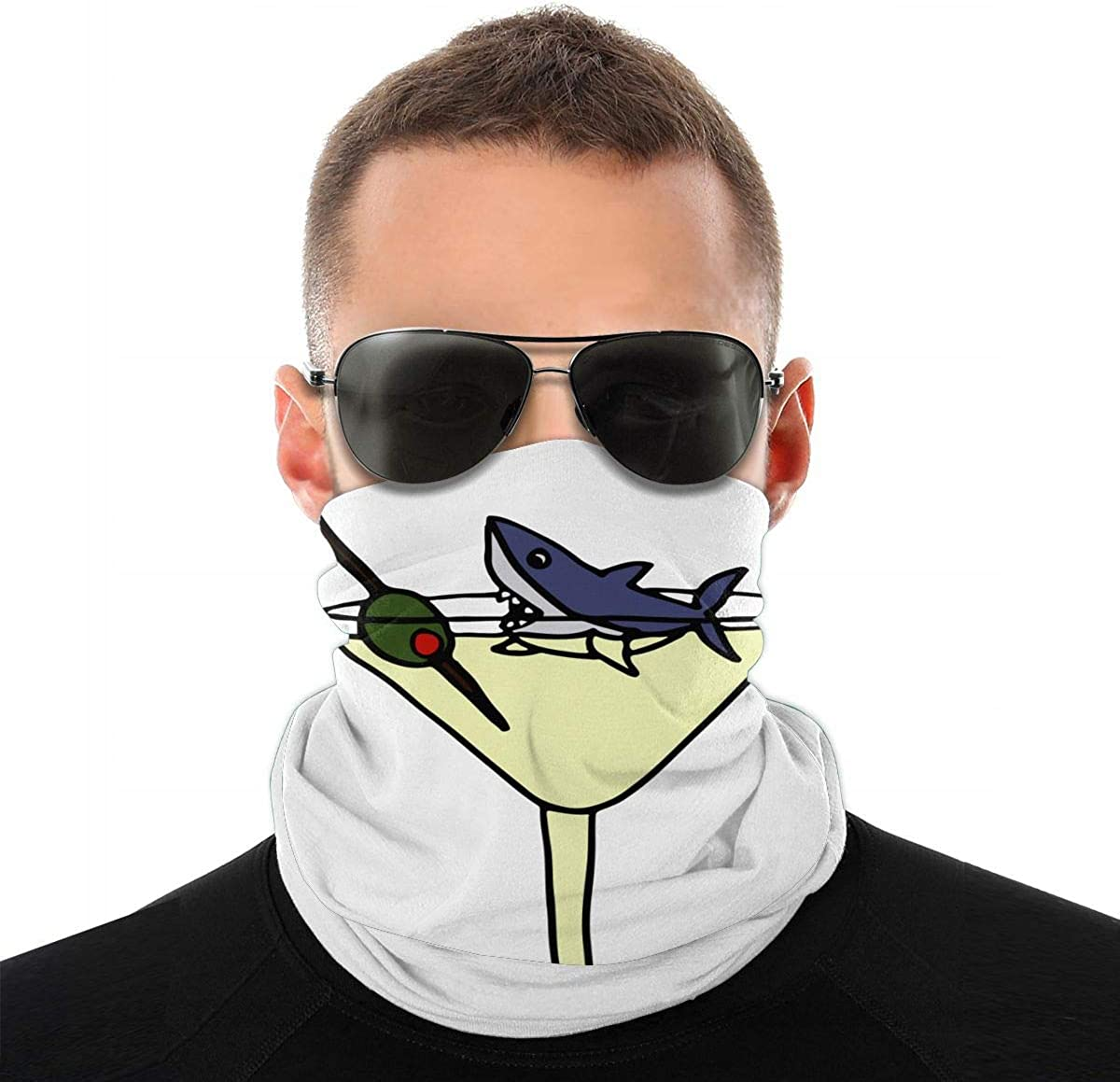 Funny Funky Shark in Martini Glass Seamless Bandana Face Mask for Men Women Scarf Headband Sweatband