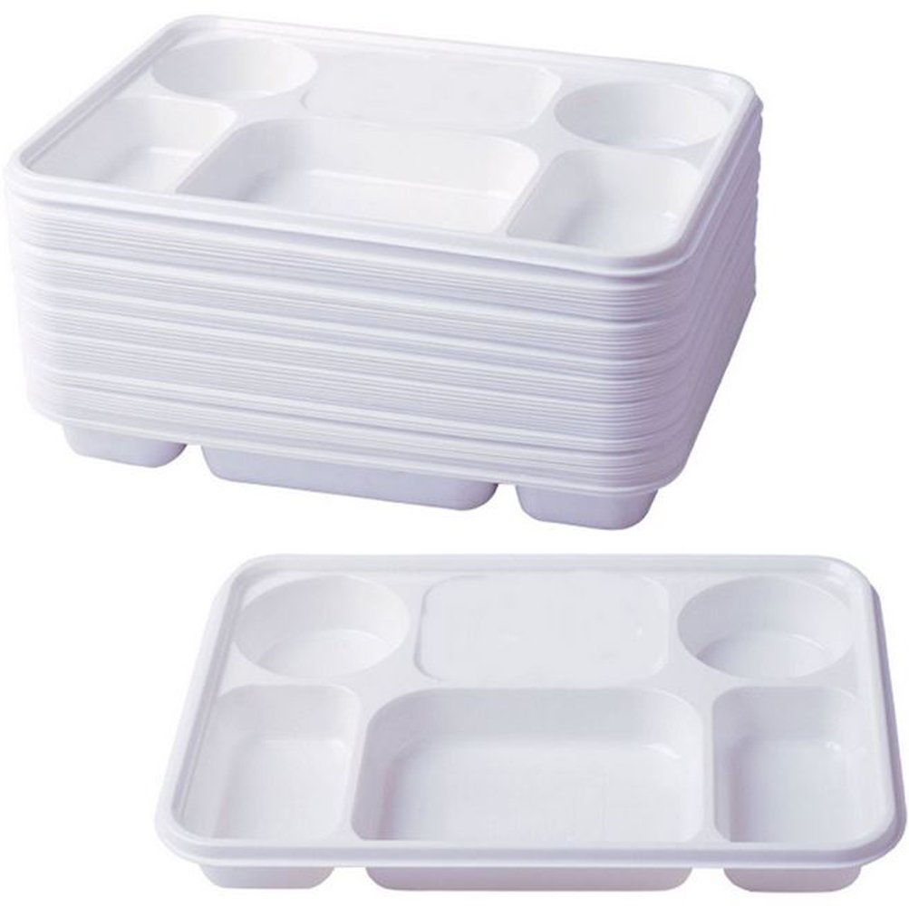 Deluxe Heavy Duty 6 Compartment Plastic Dinner Plates 50pc Party Home Food Disposable Section Tray Curry Thali Wedding BBQ Concept4u