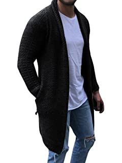 2ca38a477cc Runcati Mens Cardigan Sweater Shawl Collar Chunky Open Front Long Sleeve  Knit Slim Fit Coats with