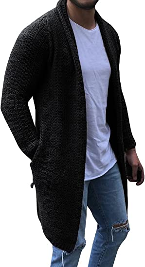 EastLife Mens Cardigan Sweaters Long Sleeve Cable Knit Open Front Cardigans with Pocket