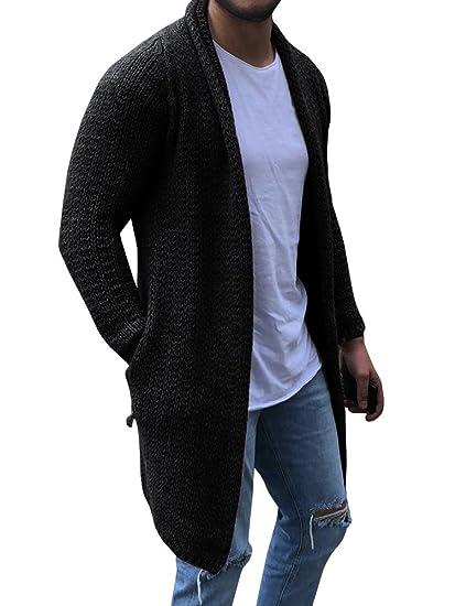 Runcati Mens Cardigan Sweater Shawl Collar Chunky Open Front Long