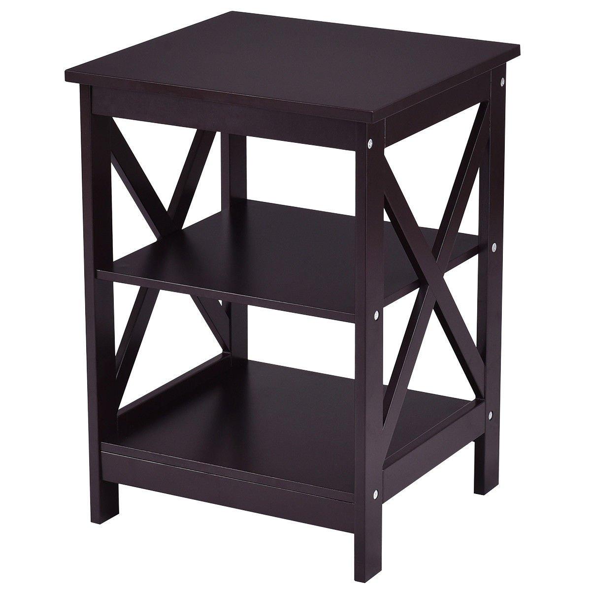 End Table 3 Tiers Storage Display Shelf Nightstand Living Room Furniture Espresso
