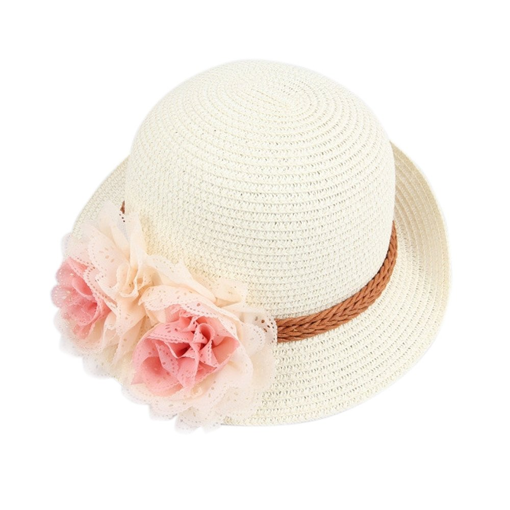 FuzzyGreen Summer Beach Hat, Fashion 2017 New Girly Straw Flowers Sun Cap for Kids Girls - Cream White