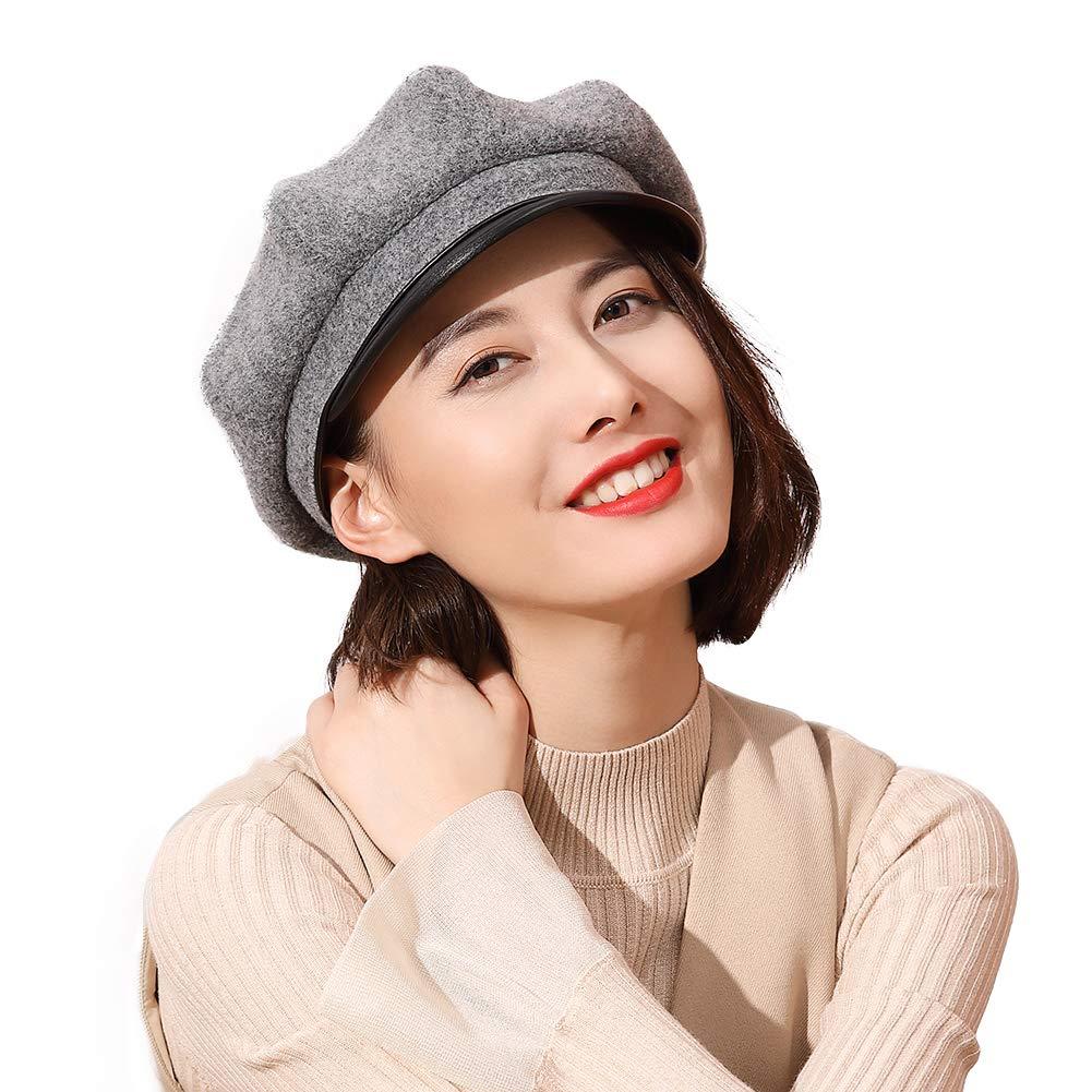 83abb616c43 Ladies Stylish Wool Felt Baker Boy Cap PU Peaked Beret Newsboy Winter Hats  Fiddler Cap Cabbie