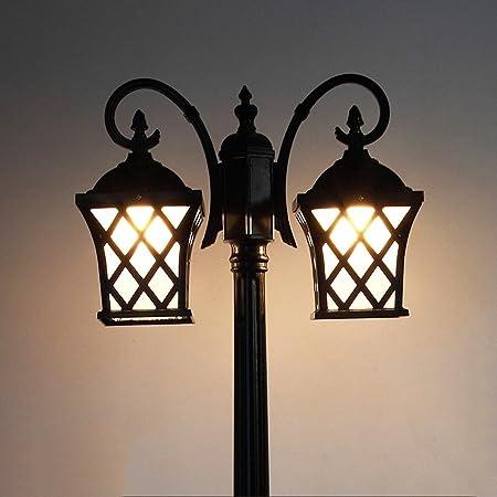 Modeen Luz de calle LED Paisaje exterior Villa Impermeable Lámpara de poste Cabezas dobles Jardín Europeo