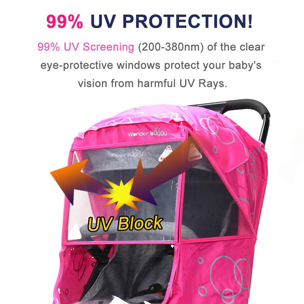 Pink Windproof Protection Outdoor Use Wonder buggy Universal Stroller Weather Shield Rain Cover with Bubble,Waterproof Easy to Install and Remove Travel-Friendly