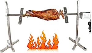 NICECHOOSE BBQ Rotisserie Kit, 110V 15W Heavy Duty Universal Complete Grill Rotisserie Spit Charcoal Rod Motor Kit Pig Lamb Cooker Grill for Picnic Outdoor Use - Stainless Steel