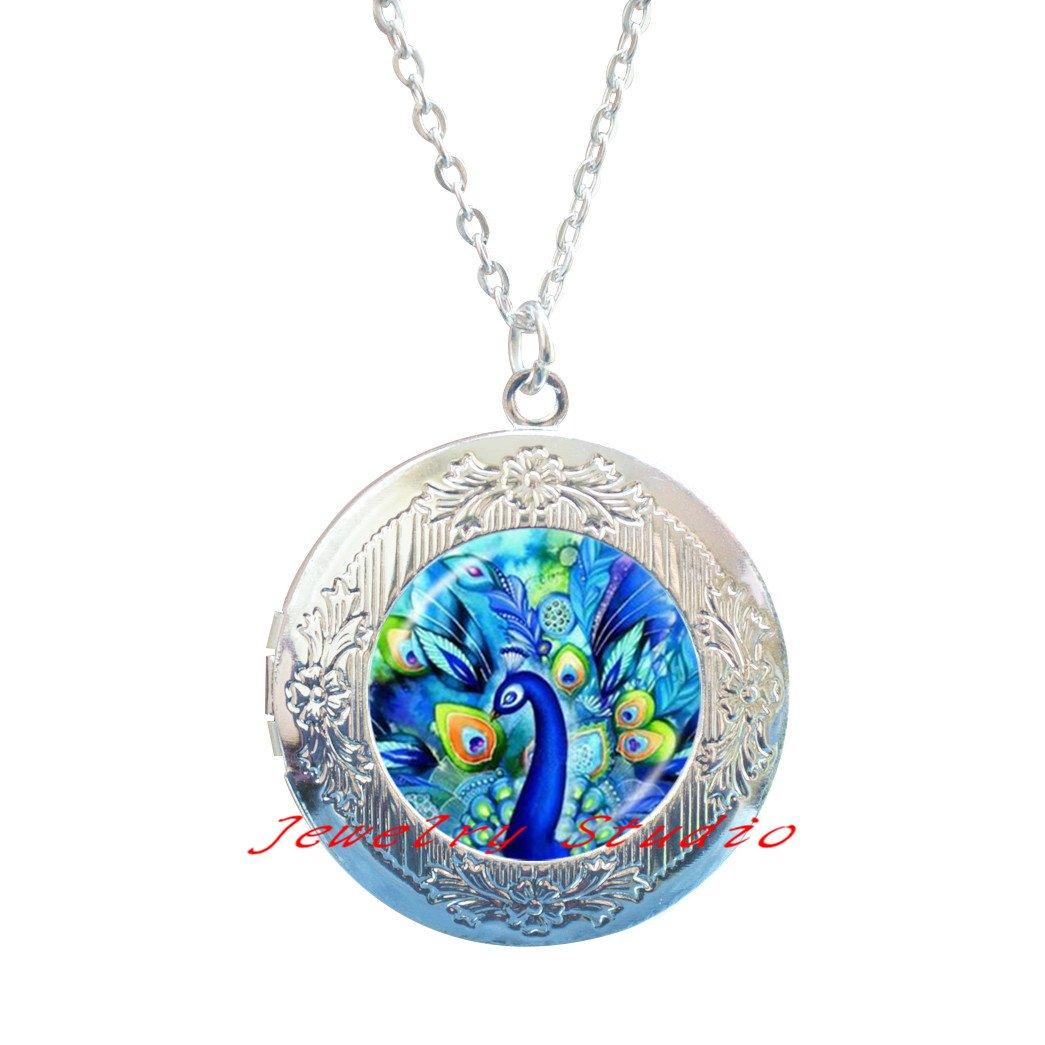 Charming fashion Locket Necklace,Peacock Locket Necklace Peacock Jewelry Peacock Locket Necklace Peacock Locket Pendant Bird Jewelry Bird Locket Necklace-HZ00173
