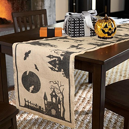PartyTalk Burlap Halloween Table Runner Haunted House Table Cover, 14 x 74 inch Jute Fringe Table Runner for Halloween Dinner Party and Scary Movie Nights by PartyTalk