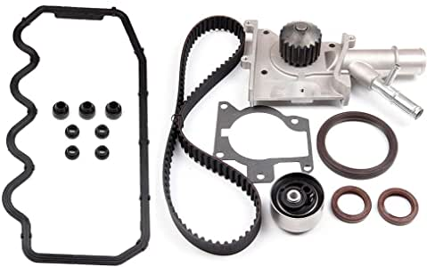 SCITOO Timing Belt Water Pump Kit Include Timing Belt Water Pump Tensioner Bearing vavle Cover Gasket,WP125-5980 TCKWP283 WP901 TS26283 Automotive Replacement Parts Fits 2000-2003 Ford Focus SE 2.0L
