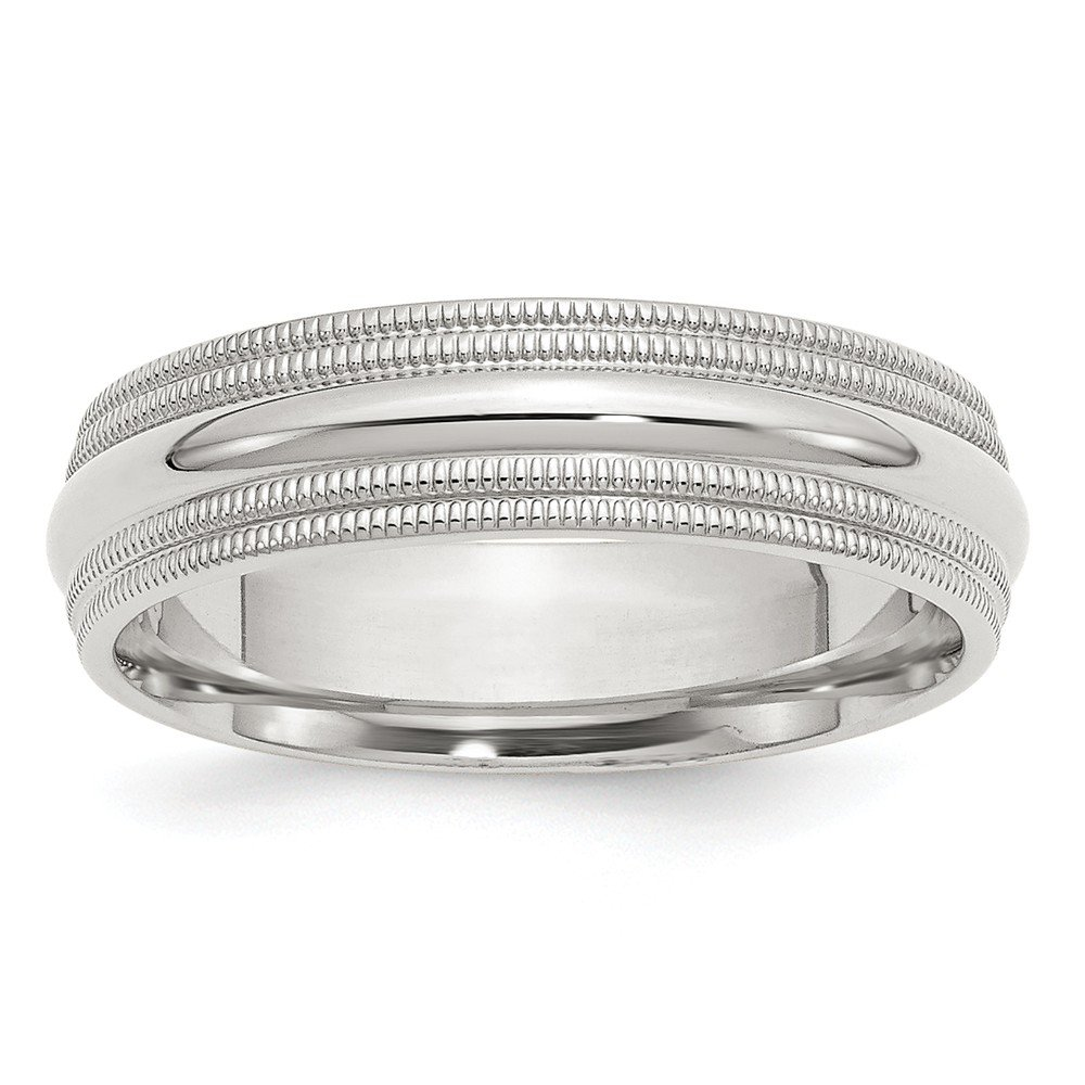JewelrySuperMart Collection Sterling Silver 6mm Plain Half Round Classic Comfort-fit Wedding Band with Double Milgrain Edge