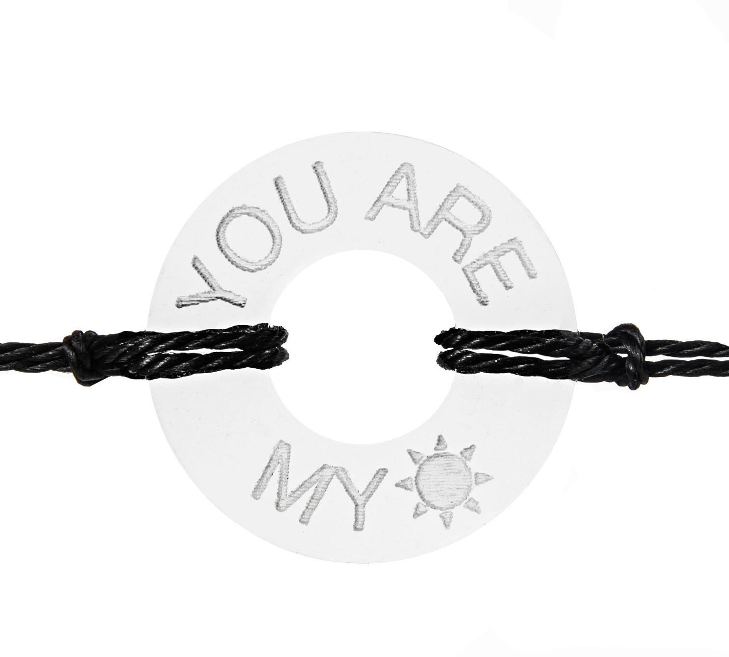 LIFE TOKEN Custom Handmade Personalized engraved Message You Are My Sunshine Novelty Jewelry Bracelet For Both Men and Women (Clear Token with Black String)
