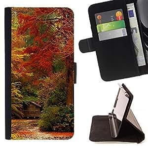 For Sony Xperia M5 E5603 E5606 E5653 Case , Feuilles d'automne Couleurs Rouge Forêt Jaune - la tarjeta de Crédito Slots PU Funda de cuero Monedero caso cubierta de piel