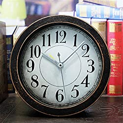 Usany 5 inch black Vintage Wood Pattern Analog Table Clock Arabic numbers Silent Non-ticking Quartz Desk Clock Alarm Clock Round Desk Clocks 3D Clock Christmas gift