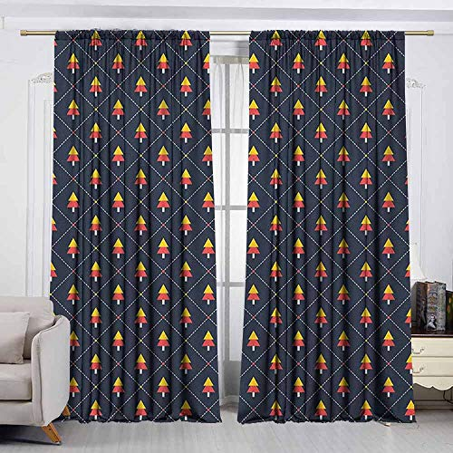 (VIVIDX Outdoor Patio Curtains,Christmas,Checkered Diagonal Pattern with Dashed Lines and Dots Small Abstract Pine Trees,Insulated with Curtains for Bedroom,W55x72L Inches)