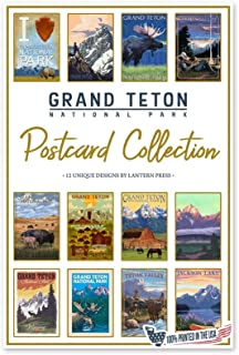 product image for Grand Teton National Park - Postcard Set of 12 Different Original Hand Illustrated Postcards by Lantern Press