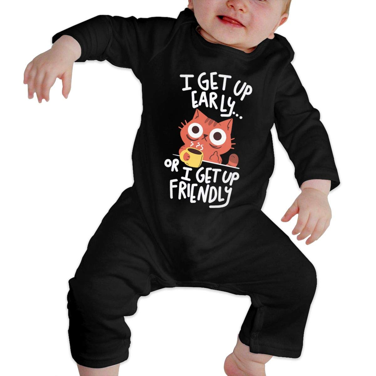 The Cat in The Morning Newborn Baby Boy Girl Romper Jumpsuit Long Sleeve Bodysuit Overalls Outfits Clothes