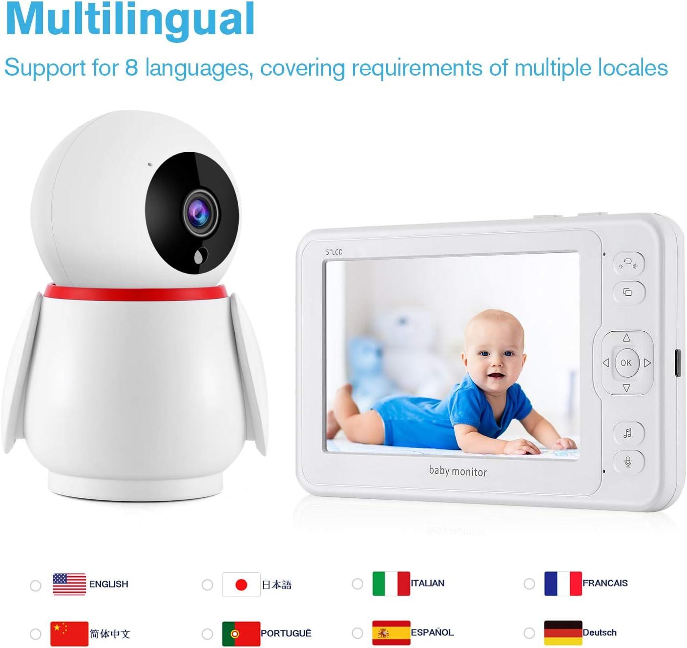 Videocamera con 5 1080P Schermo LCD 2000 mAh VOX Baby Monitor Rotazione di 355/° telecamera visione notturna,Archivio di registrazione video,Interfono Monitoraggio Della Temperatura ninna nanna