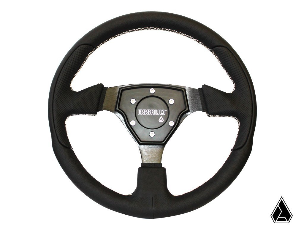 Assault Industries 100005SW0102 Black//Blue Stitch Tomahawk Steering Wheel with Billet Front Plate