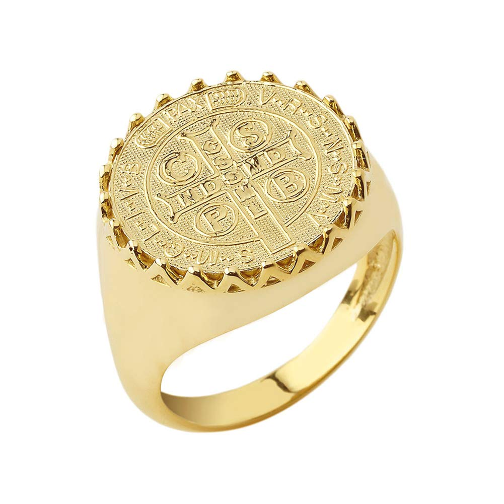 Exquisite 14k Yellow Gold St. Benedict Medal Statement Ring (Size 9.75)