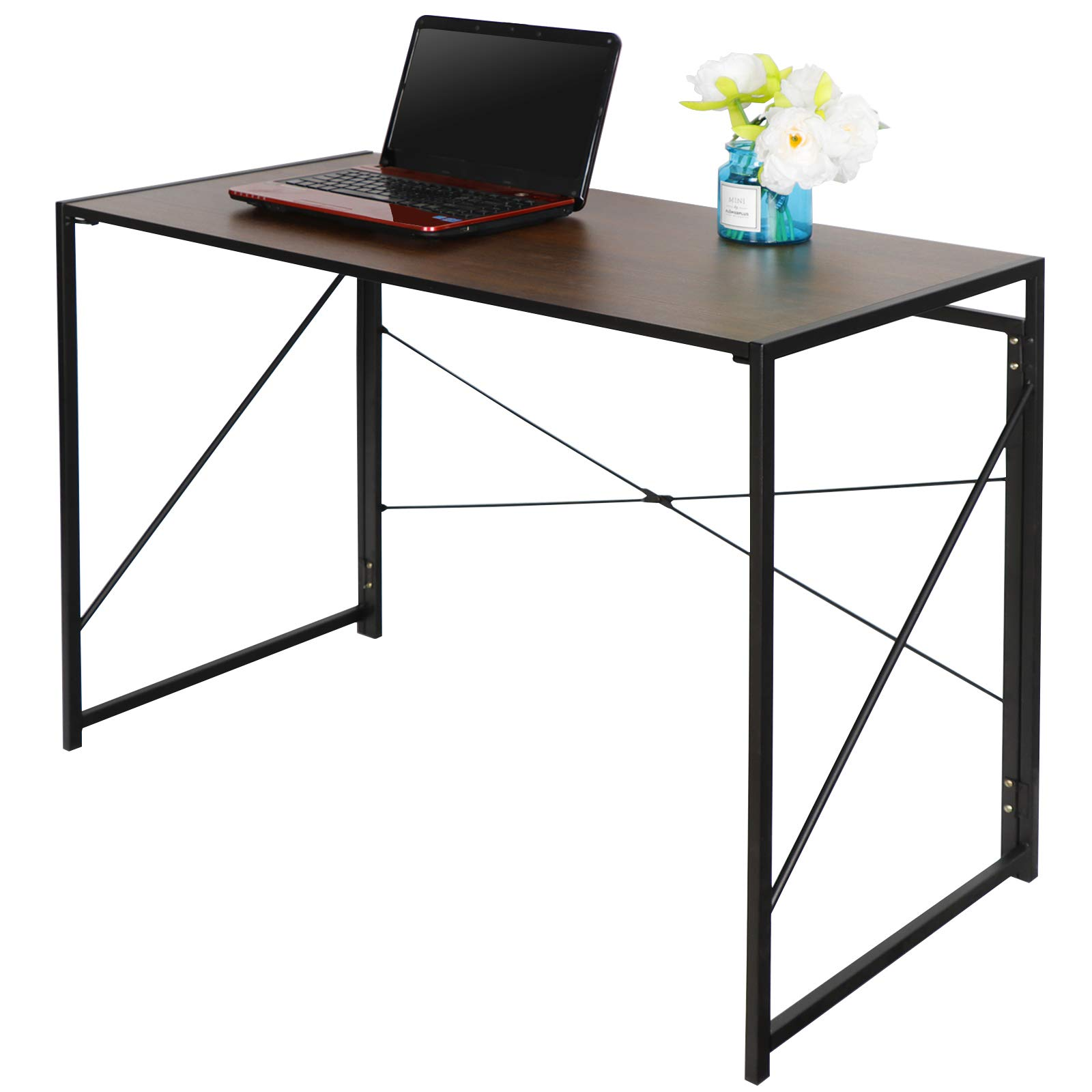 Folding Writing Computer Desk Home Office PC Laptop Table Multipurpose Workstation with Solid Steel Frame/Waterproof Desktop by ZenStyle