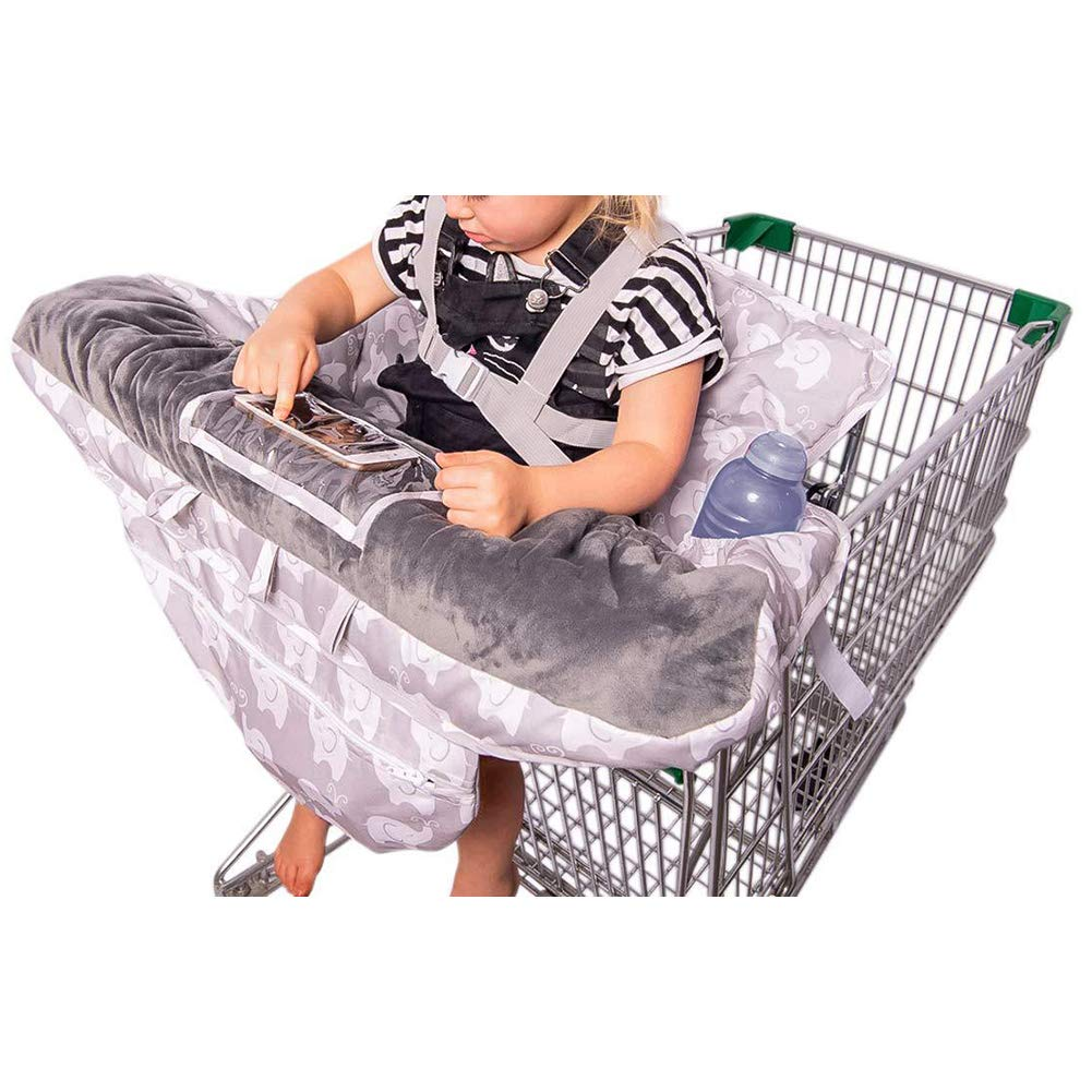 2-in-1 Baby Shopping Cart Cover and High Chair Protector - Germ-Protecting Seat Covers for Grocery Carts, Restaurant High-Chairs - Universal, Soft, Safe - Travel Gear for Babies, Infants (1)