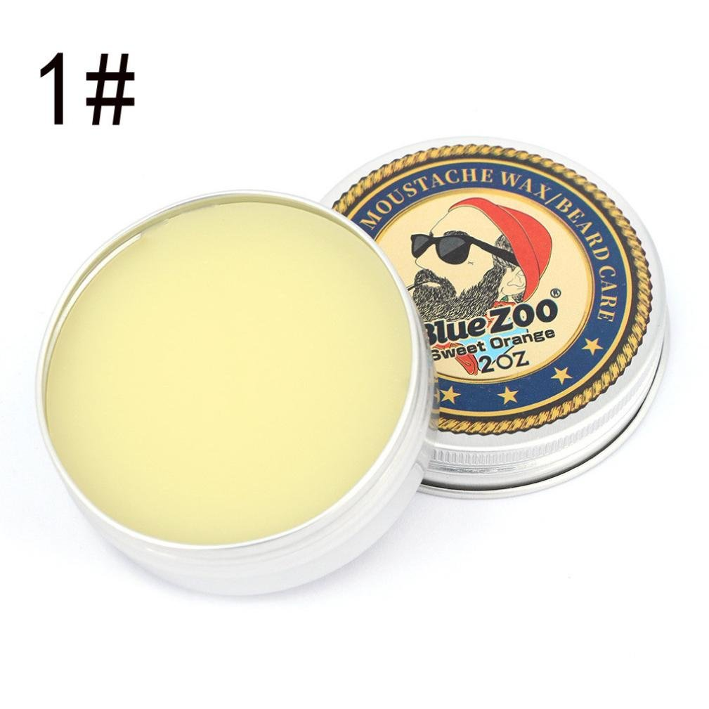 Beard Balm,Medium Hold Beard Wax for Styling - Non Greasy - Deep Beard Conditioner - Wanshop Men Beard Balm Leave Moisturizing Care Cream Beard Care Lubricating Cream 60g (A)